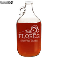 Flores Personalized Etched Clear Glass Growler 64oz