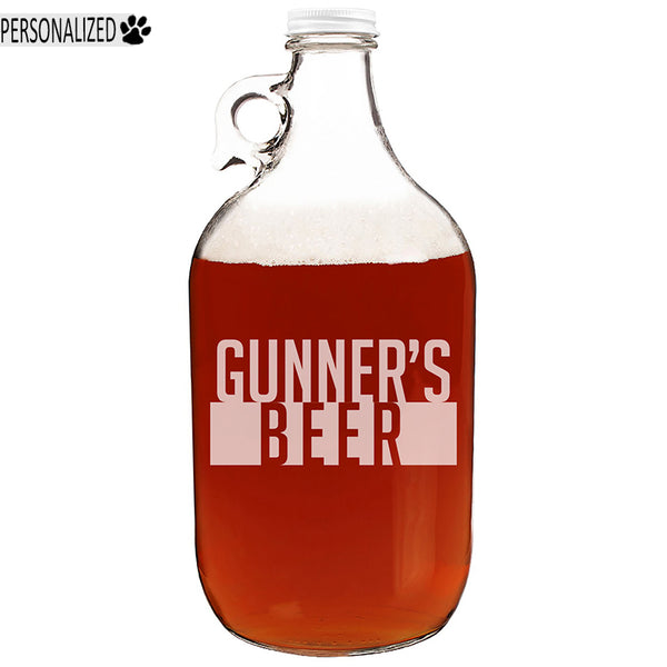 Gunner Personalized Etched Clear Glass Growler 64oz