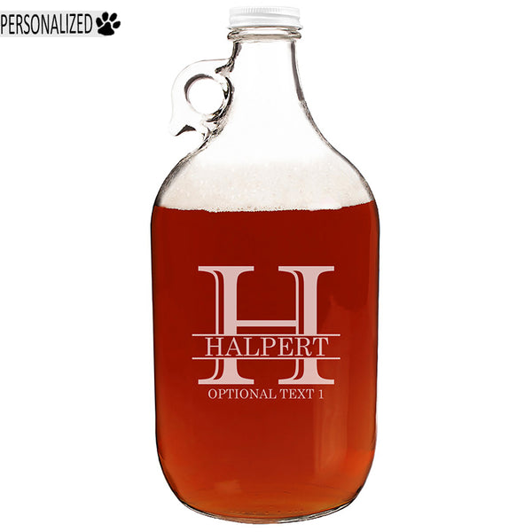 Halpert Personalized Etched Monogram Clear Glass Growler 64oz