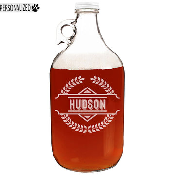 Hudson Personalized Etched Clear Glass Growler 64oz