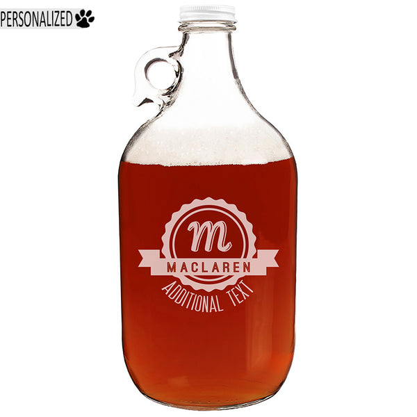 Maclaren Personalized Etched Monogram Clear Glass Growler 64oz