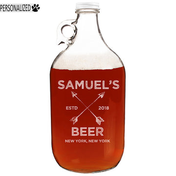 Samuel Personalized Etched Clear Glass Growler 64oz