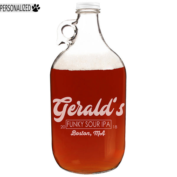 Gerald Personalized Etched Clear Glass Growler 64oz