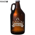 Aaron Personalized Etched Amber Glass Beer Growler 64oz