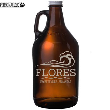 Flores Personalized Etched Amber Glass Beer Growler 64oz