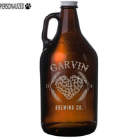 Garvin Personalized Etched Amber Glass Beer Growler 64oz