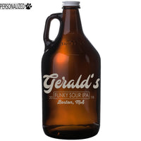 Gerald Personalized Etched Amber Glass Beer Growler 64oz