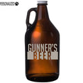 Gunner Personalized Etched Amber Glass Beer Growler 64oz