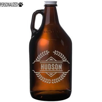 Hudson Personalized Etched Amber Glass Beer Growler 64oz