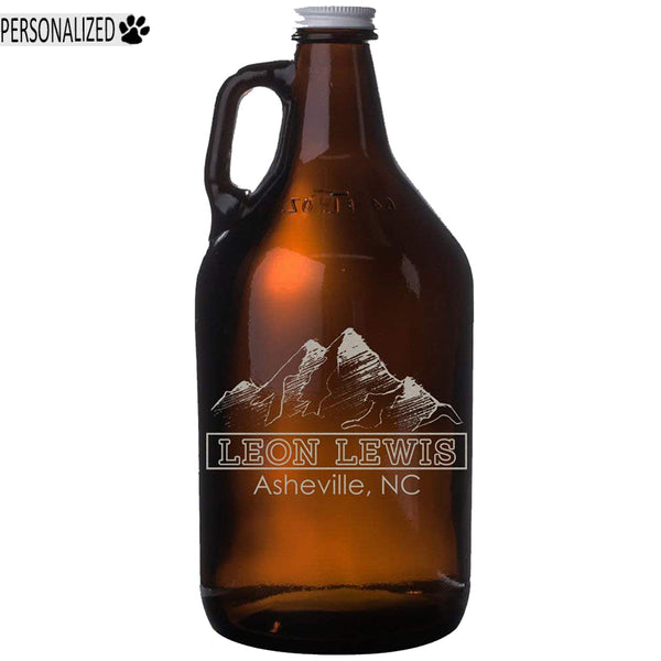 Lewis Personalized Etched Amber Glass Beer Growler 64oz