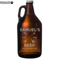 Samuel Personalized Etched Amber Glass Beer Growler 64oz