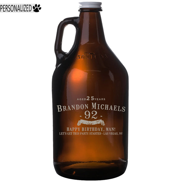 Personalized Etched 64oz Amber Glass Beer Growler for Birthday Gifts