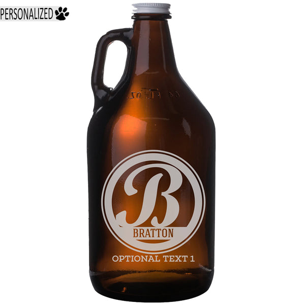 Bratton Personalized Etched Amber Glass Beer Growler 64oz