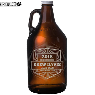 Davis Personalized Etched Amber Glass Beer Growler 64oz