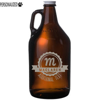 Maclaren Personalized Etched Amber Glass Beer Growler 64oz