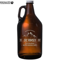 Ramsey Personalized Etched Amber Glass Beer Growler 64oz