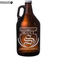 Scott Personalized Etched Amber Glass Beer Growler 64oz