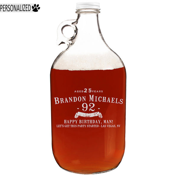 Brandon Personalized Etched Clear Growler 64oz