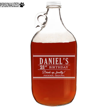 Personalized Etched 64oz Clear Growler for Birthday Gifts