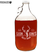 Jones Personalized Etched Clear Glass Growler 64oz