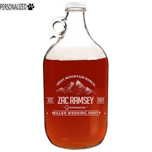 Ramsey Personalized Etched Clear Glass Growler 64oz