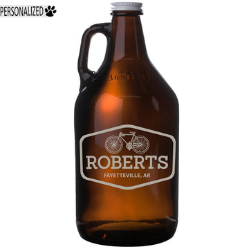 Roberts Choose Your Icon Etched Amber Glass Beer Growler 64oz