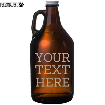 Your Custom Text Personalized Etched Amber Beer Growler 64oz