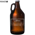 Mullen Personalized Etched Amber Glass Beer Growler 64oz