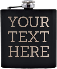 Personalized Etched Flask with Custom Your Text Here | 6oz, Black, Stainless Steel