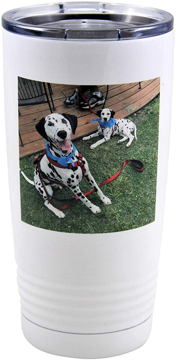 Personalized Insulated Tumbler with Your Custom Photo, Logo, or Design | 20 oz, White, Stainless Steel