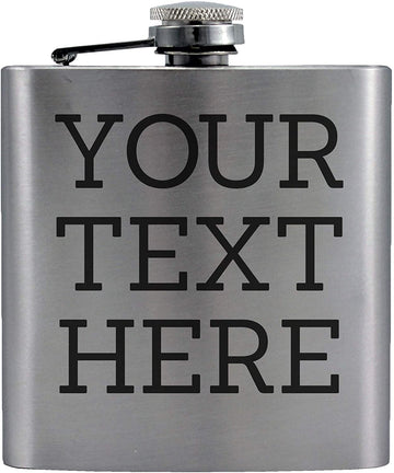 Personalized Etched Flask with Custom Your Text Here | 6oz, Stainless Steel