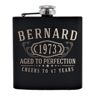 Personalized Etched Flask with Your Custom Text | 6oz, Black, Stainless Steel