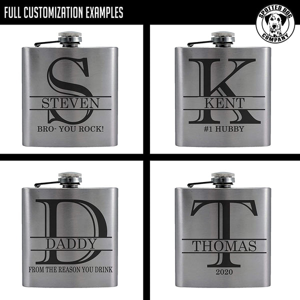 Personalized Etched Flask with Your Custom Text | 6oz, Stainless Steel