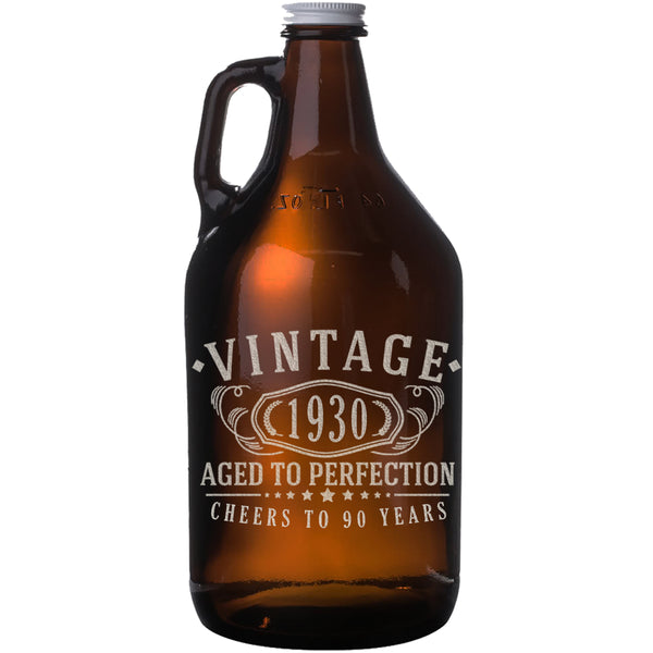 Vintage 1930 Etched 64oz Amber Glass Beer Growler - 90th Birthday Aged to Perfection - 90 years old gifts