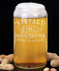 Vintage 1981 Etched 16oz Beer Can Glass - 40th Birthday Aged to Perfection - 40 years old gifts