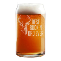 Best Buckin Dad Ever Etched Beer Can Glass 16oz