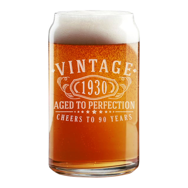 Vintage 1930 Etched 16oz Beer Can Glass - 90th Birthday Aged to Perfection - 90 years old gifts