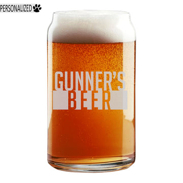 Gunner Personalized Etched Beer Soda Can Glass 16oz