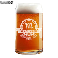 Maclaren Personalized Etched Monogram Beer Soda Can Glass 16oz