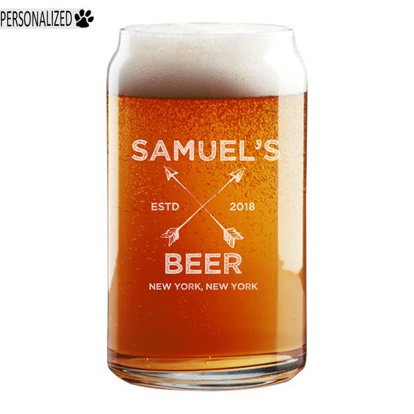 Samuel Personalized Etched Beer Can Glass 16oz