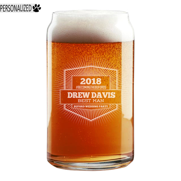 Davis Personalized Etched Beer Soda Can Glass 16oz