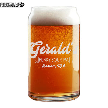 Gerald Personalized Etched Beer Soda Can Glass 16oz