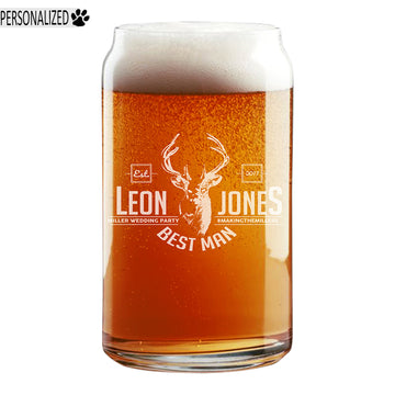 Jones Personalized Etched Beer Soda Can Glass 16oz