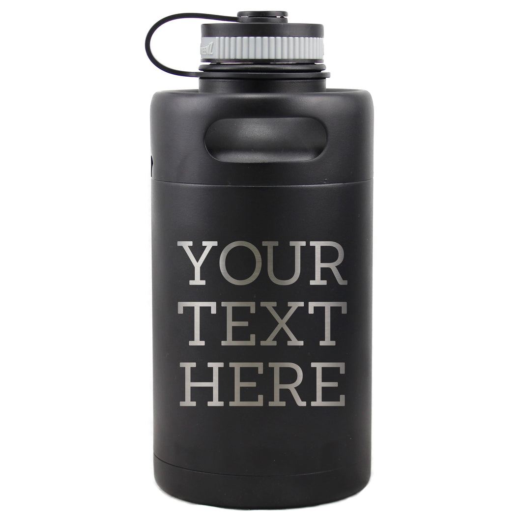 Custom Insulated Beer Growler 64oz Keg (Matte Black)