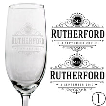 Load image into Gallery viewer, Personalized Champagne Flutes - Rutherford Design