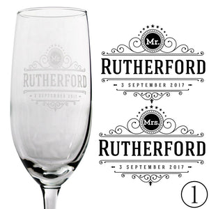 Personalized Champagne Flutes - Rutherford Design