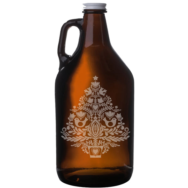 Christmas Tree Etched Amber Beer Growler 64oz