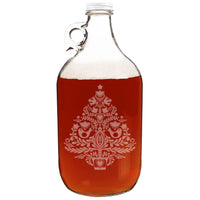 Christmas Tree Etched Clear Glass Growler 64oz