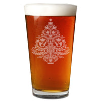 Christmas Tree Etched Pint Glass