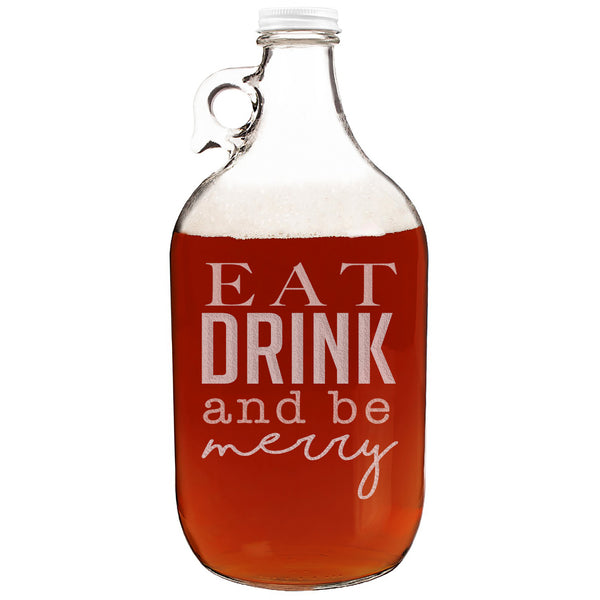 Eat Drink and Be Merry Christmas Etched Clear Glass Growler 64oz